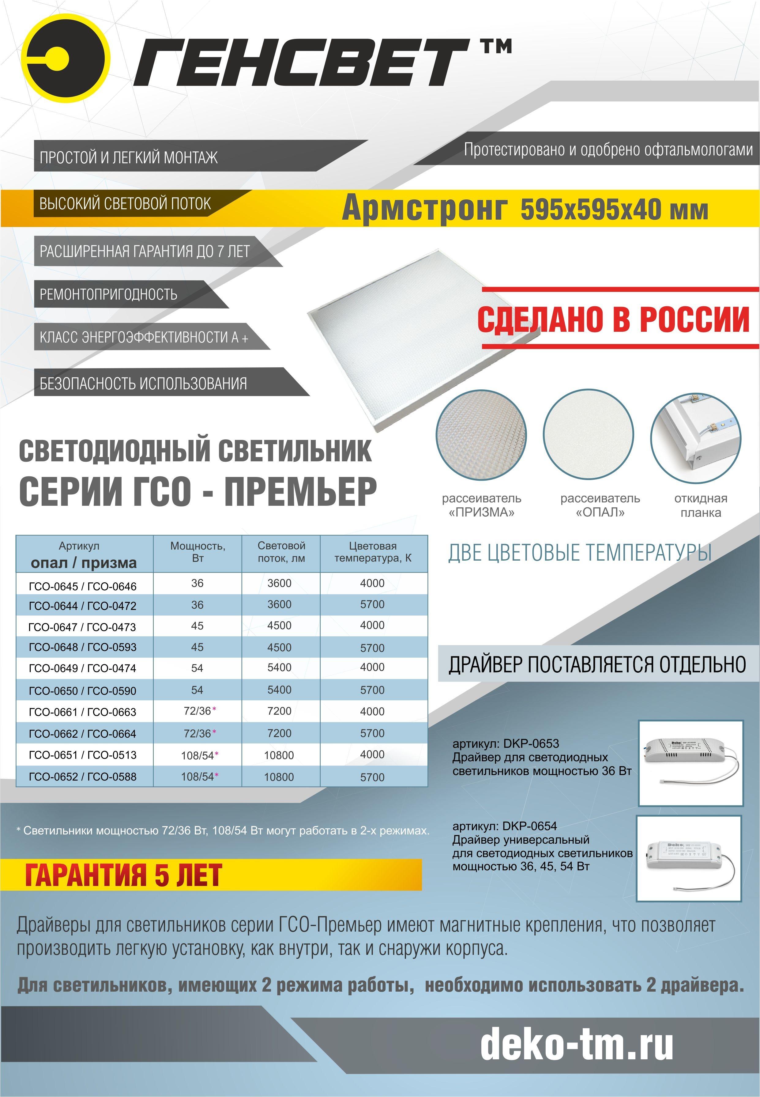 ГЕНСВЕТ_Светодиодные светильники серии ГСО-Премьер Армстронг